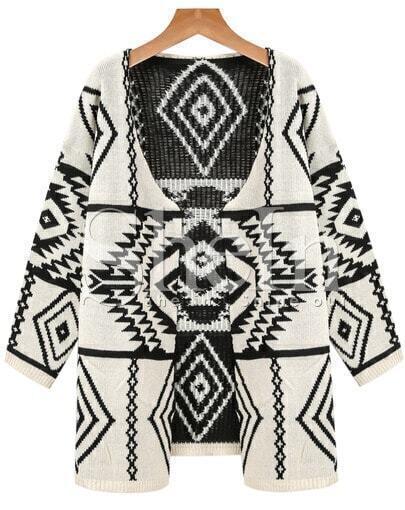 Apricot Long Sleeve Geometric Print Cardigan Sweater