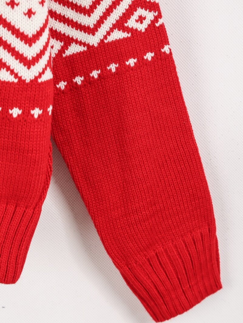 Red Long Sleeve Snowflake Pattern Knit Sweater -SheIn ...