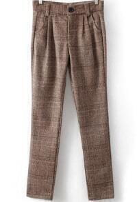 Khaki Pockets Plaid Woolen Pant