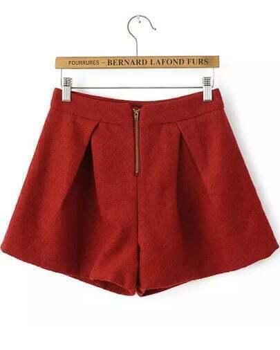 Pantalones de lana sueltos cremallera-rojo