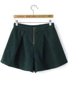 Green Zipper Loose Woolen Pant