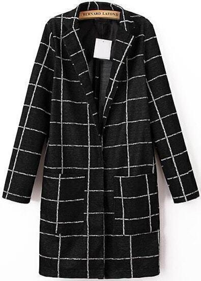 Black Long Sleeve Plaid Pockets Coat