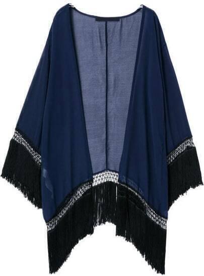 Blue Long Sleeve Loose Tassel Kimono