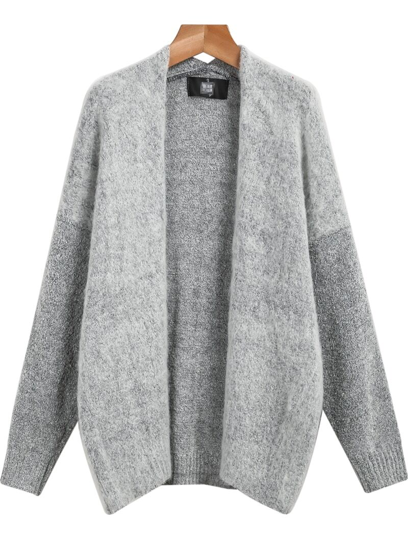 Grey Long Sleeve Loose Knit Cardigan -SheIn(Sheinside)