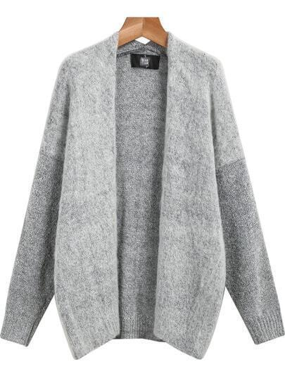 Grey Long Sleeve Loose Knit Cardigan