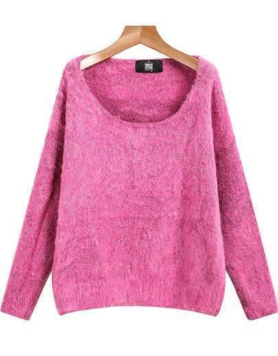 Rose Red Long Sleeve Knit Loose Sweater
