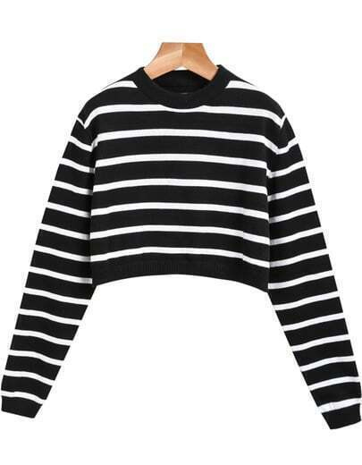 Black Long Sleeve Striped Crop Knit Sweater
