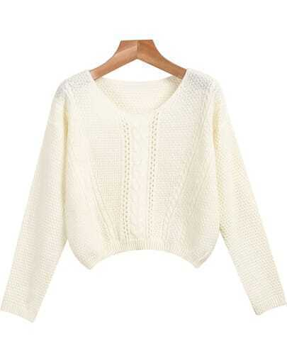 White Round Neck Long Sleeve Crop Knit Sweater