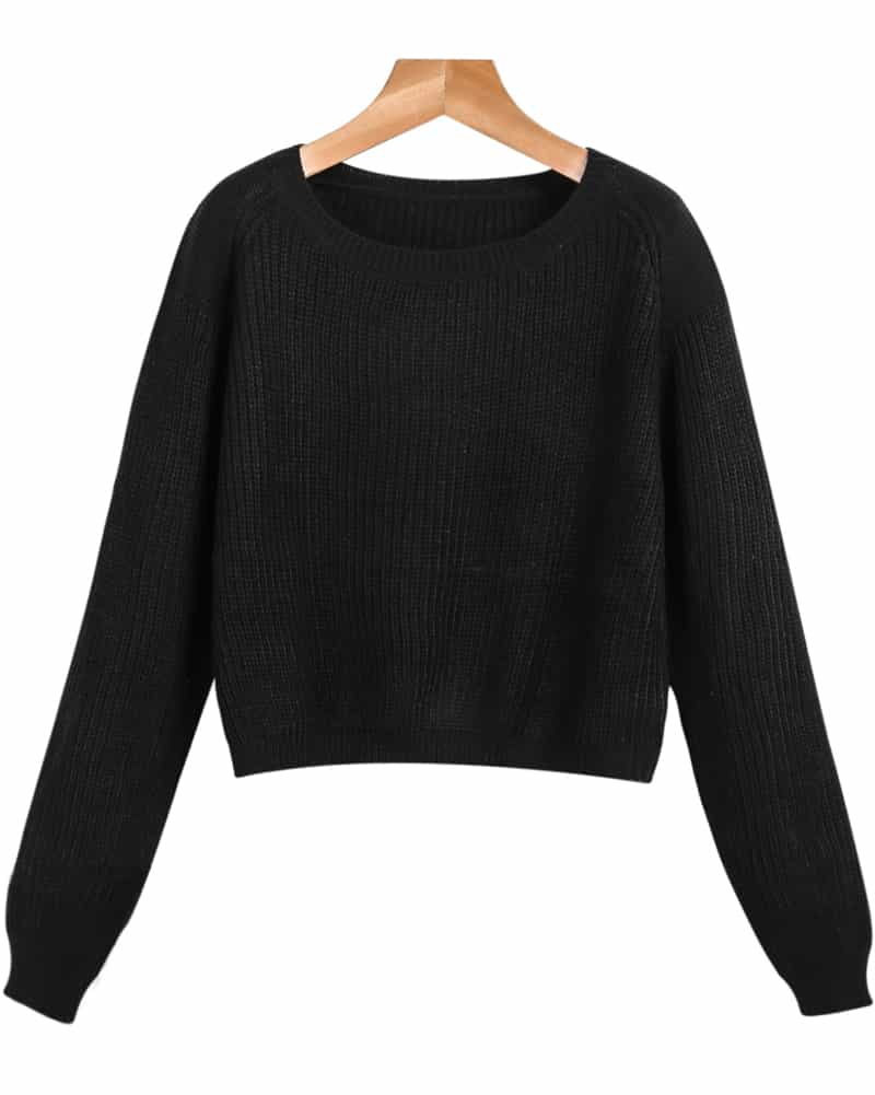 Black Long Sleeve Crop Cable Knit Sweater -SheIn(Sheinside)