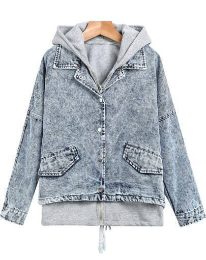 Blue Hooded Long Sleeve Two Pieces Denim Jacket