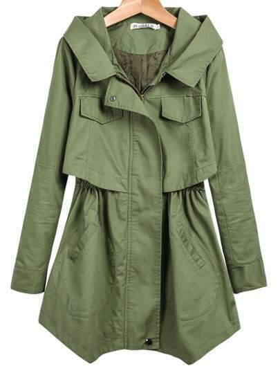 Green Hooded Long Sleeve Pockets Coat