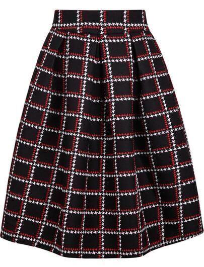 Black Houndstooth Plaid Skirt