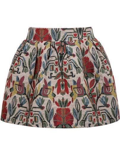 Apricot Vintage Floral Flare Skirt