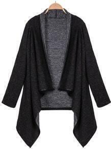 Black Long Sleeve Asymmetric Hem Outerwear