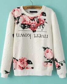 White Long Sleeve Floral Jacquard Sweatshirt