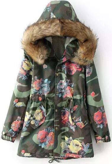Abrigo Floral con capucha manga larga-verde
