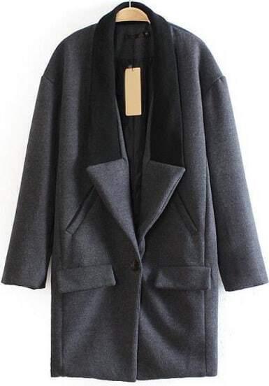 Grey Contrast Collar Long Sleeve Woolen Coat
