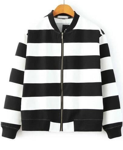 Black White Long Sleeve Striped Loose Jacket