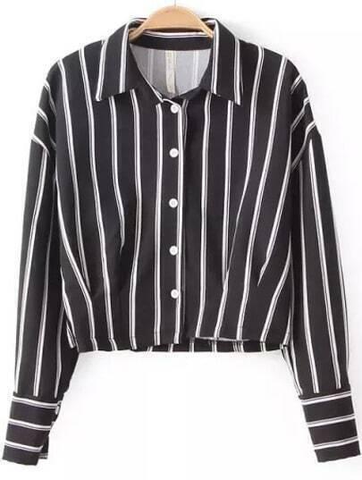 Black Lapel Long Sleeve Vertical Stripe Crop Blouse