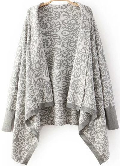 Grey Long Sleeve Totem Print Knit Cardigan