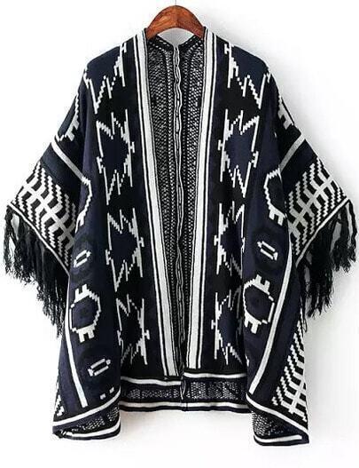 Navy Batwing Sleeve Geometric Pattern Tassel Cardigan