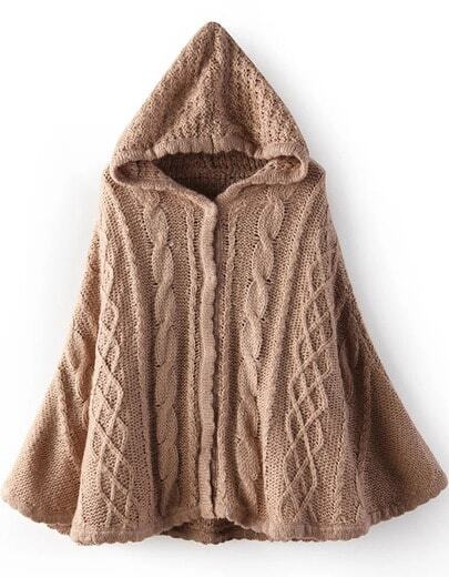 Khaki Hooded Cable Knit Cape Sweater