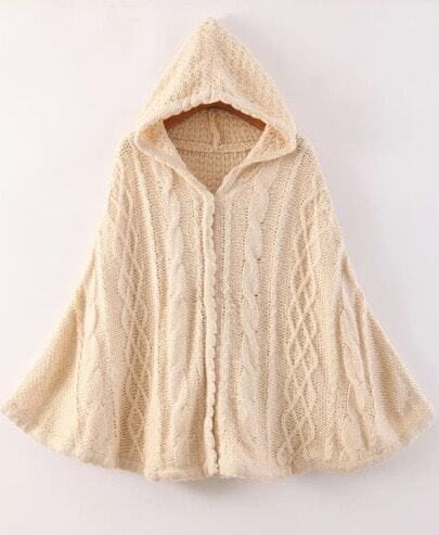 Apricot Hooded Cable Knit Cape Sweater