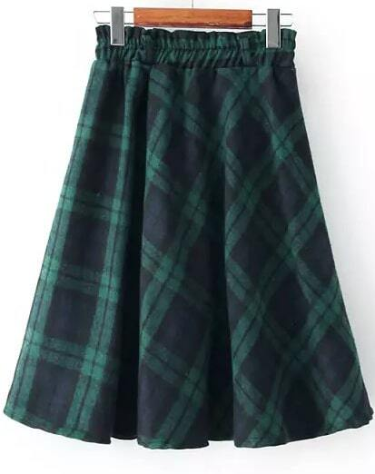 Green Elastic Waist Plaid Skirt -SheIn(Sheinside)