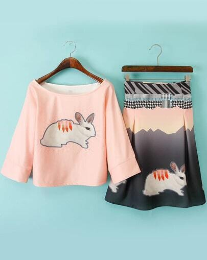 Pink Half Sleeve Rabbit Print Top With Houndstooth Skirt