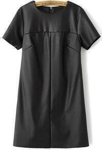 Black Short Sleeve Hollow PU Leather Dress