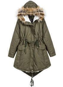 Green Faux Fur Hooded Long Sleeve Pockets Coat