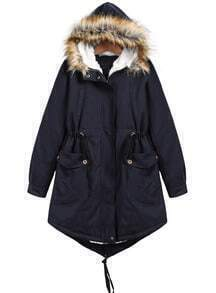 Navy Faux Fur Hooded Long Sleeve Pockets Coat