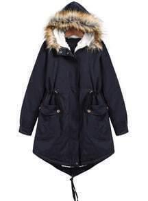 Navy Faux Fur Hooded Long Sleeve Pockets Coat