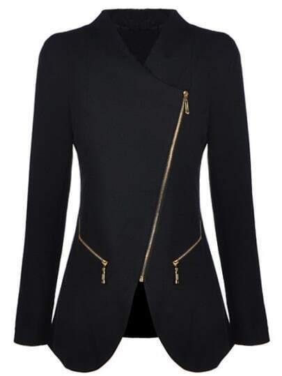 Black Long Sleeve Oblique Zipper Pockets Coat