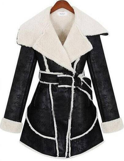 Black Lapel Long Sleeve Belt Fringe Coat
