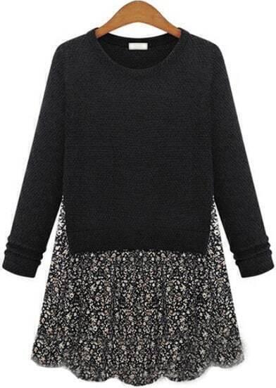 Black Long Sleeve Contrast Floral Dress
