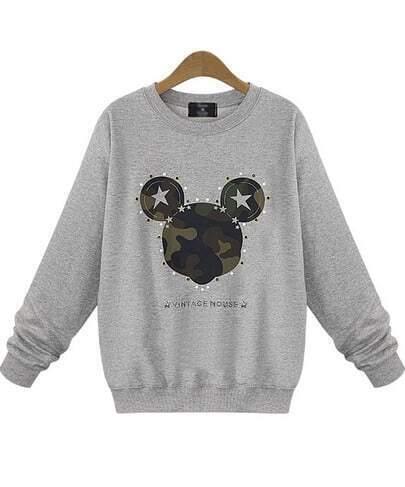 Grey Long Sleeve Rivet Mickey Print Sweatshirt