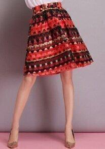Red Vintage Print Organza Skirt