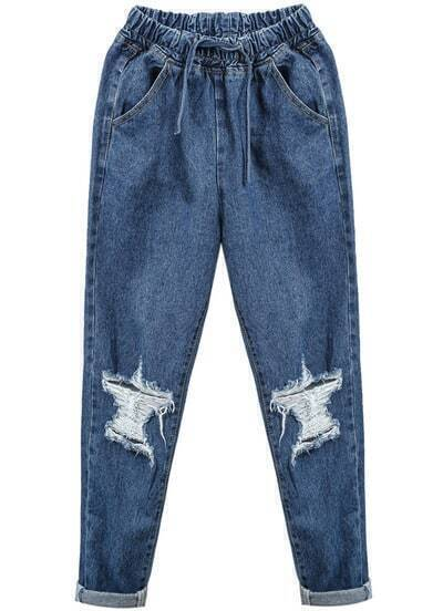 Blue Elastic Waist Ripped Denim Pant