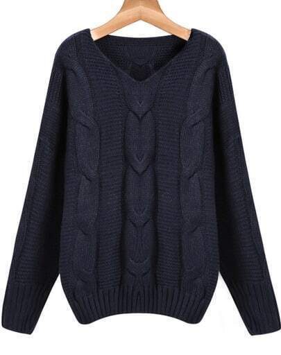 Navy Batwing Long Sleeve V-neck Cable Sweater