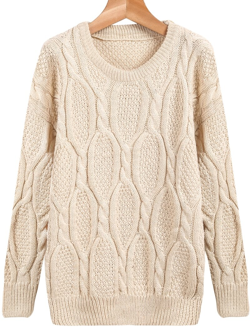 Beige Long Sleeve Loose Cable Knit Sweater -SheIn(Sheinside)