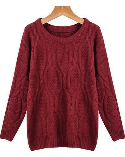 Wine Red Long Sleeve Loose Cable Knit Sweater