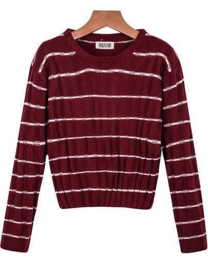Wine Red Long Sleeve Striped Crop Knit Sweater