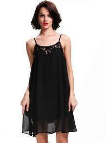 Black Spaghetti Strap Lace Loose Dress