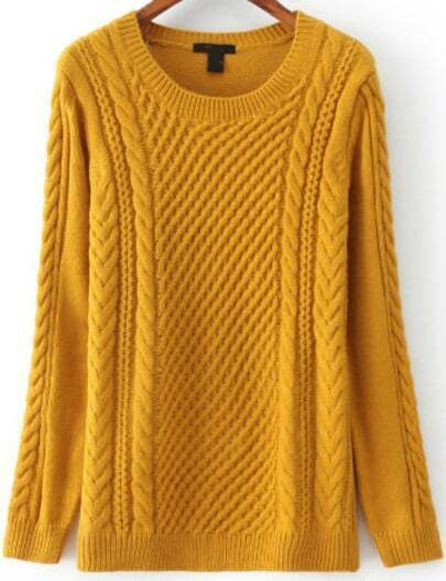 Yellow Long Sleeve Cable Knit Sweater