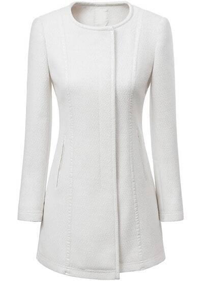 White Round Neck Long Sleeve Trench Coat