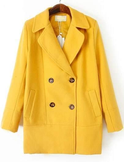Yellow Lapel Long Sleeve Pockets Woolen Coat