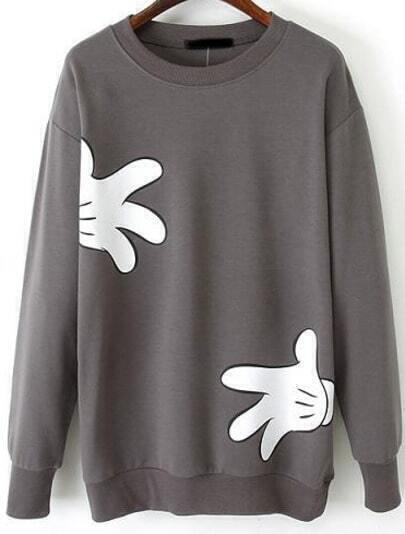 Grey Long Sleeve Gloves Print Loose Sweatshirt