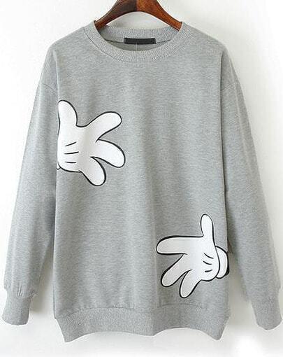 Light Grey Long Sleeve Gloves Print Loose Sweatshirt