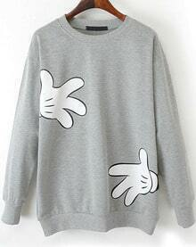 Light Grey Long Sleeve Gloves Print Loose Sweatshirt